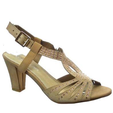 Kickly - damen Mode Schuhe Pumpe Sandalen Strass Schuhabsatz Blockabsatz - Khaki T 37 - UK 4