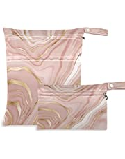 xigua 2 Pieces Rose Gold Marble Baby Cloth Diaper Wet Dry Bags Waterproof Reusable with Two Zippered Travel Bags Beach Pool Stroller Dirty Gym Clothes Wet Swimsuits - 11.8 x 14.2in