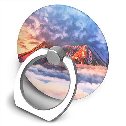 (Cell Phone Finger Ring Holder Mountain Scenery 360 Degree Rotating Stand Grip Mount Phone Bracket)