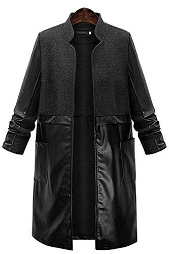 Cucitura Schwarz Ragazza Stile Anteriori Donna Vento Modern Pelle Invernali Coreana Di Casual Confortevole Giaccone Lunga Manica Tasche Collo Giubotto Giacca XHqYq