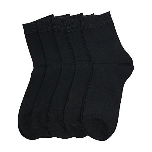 Women Bamboo - Bamboo Fiber women sock Quarter length Crew sock Breathable Odor Resistant 5 Pairs Bamboo Women Business Casual Black Sock (Black, Large)