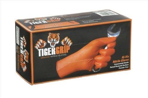 TIGER GRIP 7 mil superior grip Orange Nitrile Gloves - Large