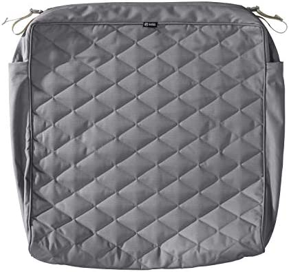 Classic Accessories Montlake Water-Resistant 25 x 27 x 5 Inch Patio Quilted Seat Cushion, Grey
