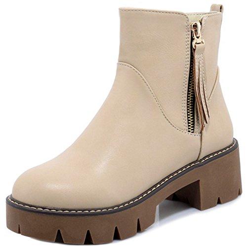 Aprikose Frauen Stiefel Reißverschluss kurze RAZAMAZA XRxpw0w