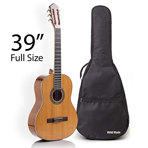 Classical Guitar with Soft Nylon Strings by Hola! Music, Full Size 39 Inch Model HG-39GLS, Natural Gloss Finish – FREE Padded Gig Bag Included