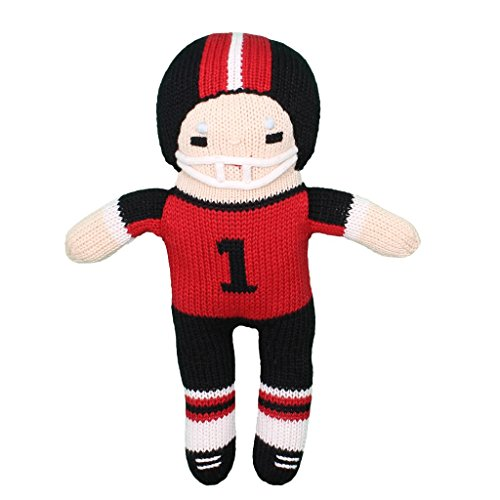 Zubels Baby Boys' Hand-Knit Football Player Plush Toy, All-Natural Fibers, Eco-Friendly, 12-Inch, Red & Black