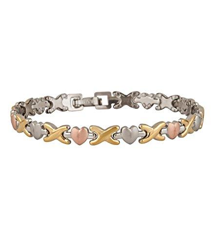 Bracelet For Women Hugs and Kisses Stainless Steel Tri Tone Stainless Steel