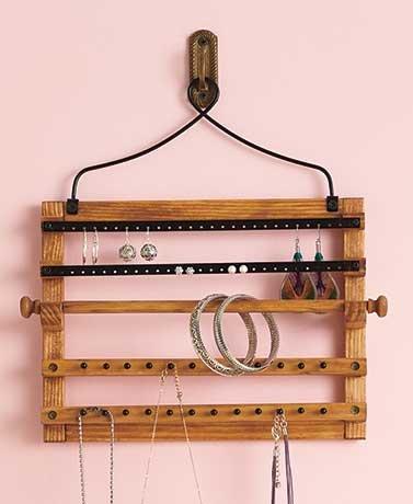 Wooden Bohemian Design Jewelry Hooks Storage Hanging Organiz