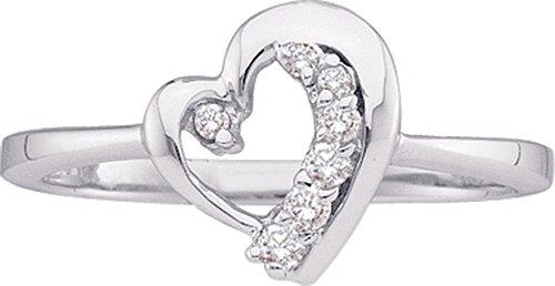 Heart Journey Ring (10kt White Gold Womens Round Diamond Heart Journey Ring 1/10 Cttw (I2-I3 clarity; J-K color))