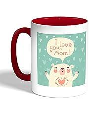 I love you mom Printed Coffee Mug, Red Color (Ceramic)