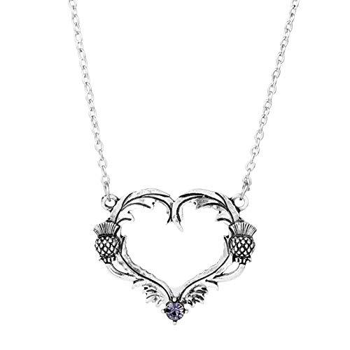 Thistle Scottish Jewellery (Nattaphol Jewelry Outlander Necklace Heart Scottish National Flower Oval Scottish Scotland Thistle Heart Shape Pendant Necklace-30)