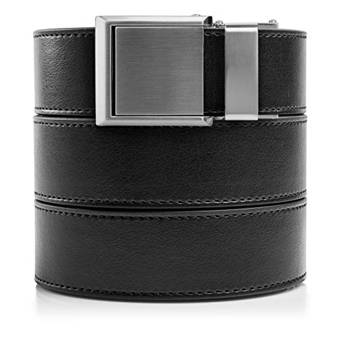 SlideBelts Ratchet Belt with Square Buckle - Custom Fit (Black Leather with Square Silver Buckle (Vegan), One Size) (Leather Square Buckle Belt)