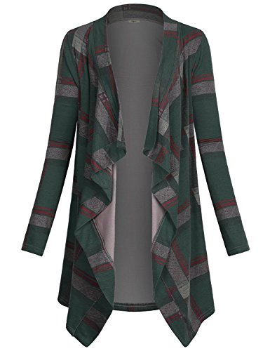 Miusey Women Sweater Coat Ladies Soft Trench Coat Elastic Fit Long Sleeve Drape Print Clothing Knit Open Colorful Striped Comfy Cardigan Cotton Comfy Lightweight Plus Size Fashion Clothing Green XXL -
