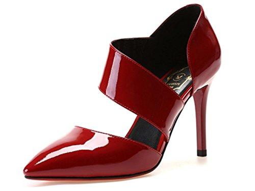 YCMDM WOMEN Sandalen Stiletto Ferse Rindsleder Büro Karriere Party Abendkleid Stiletto Ferse Schwarz Rot Weiß , red , us6 / eu36 / uk4 / cn36