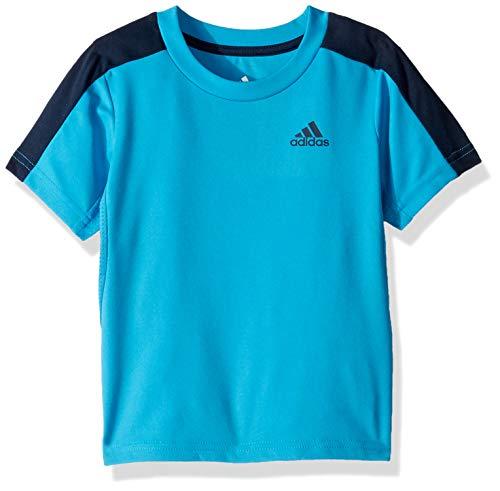 adidas Boys' Little Short Sleeve Logo Tee Shirt, Training Aqua 6