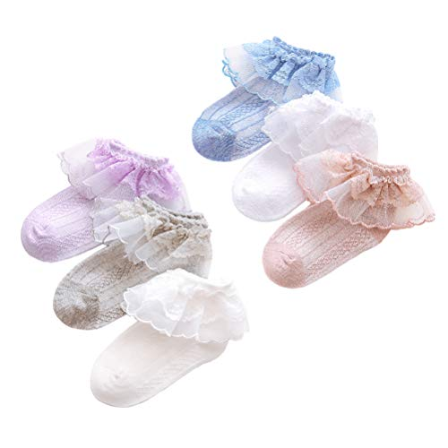 6 Pairs Ruffled Lace Ankle Socks Baby Girl Pointelle Cotton Socks White/Off-White/Purple/Blush/Blue/Grey for Infant & Toddler & Kid for 6-12 Months ()