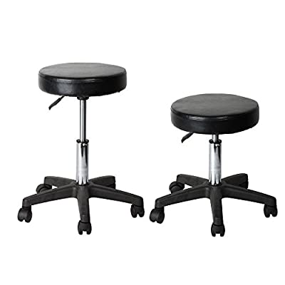 Flexzion Rolling Swivel Stool Pneumatic Work Chair Adjustable Height With Casters Wheel 360 Degree Rotation for Home Office Salon Facial Massage Table