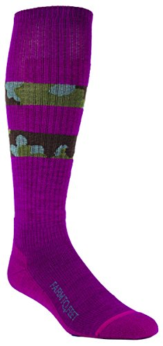 Farm 2 Feet Boise - Lightweight Camo Stripe Graphic Ski comes with a Helicase sock ring; Size: W-M - Berry/Balsam
