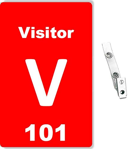 Red PVC Visitor Badge, Numbered and Clear Vinyl Strap Clip 2- Hole- 10 Pcs Pack (White Text)