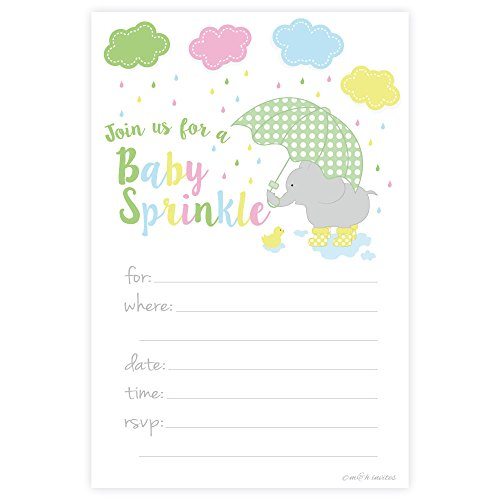 Elephant Baby Sprinkle Invitations - Boy or Girl Gender Neutral - Fill In Style (20 Count) With Envelopes -