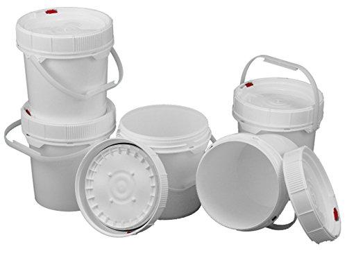 5 Screw Top 62 mil Buckets - 1.25 Gallon, White (Dimensions 5 Gallon Bucket)