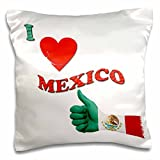 3dRose pc_216436_1 I Love Mexico Mexican Flag Popular Saying Pillow Case, 16'' x 16''