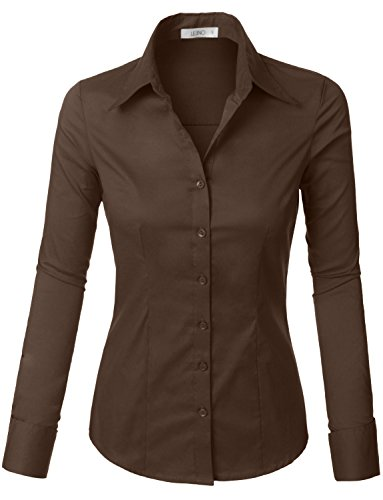 (LE3NO Womens Tailored Long Sleeve Button Down Shirt with Stretch Brown)