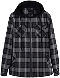 Men's Sherpa Lined Full Zip Hooded Plaid Shirt Jacket