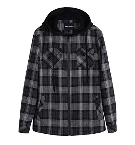 Plaid Zip Jacket - ZENTHACE Men's Sherpa Lined Full Zip Hooded Plaid Shirt Jacket Black/Grey