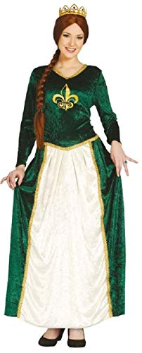Ladies Medieval Queen Fiona Green Velvet Full Length Historical Fancy Dress Costume Outfit (UK -