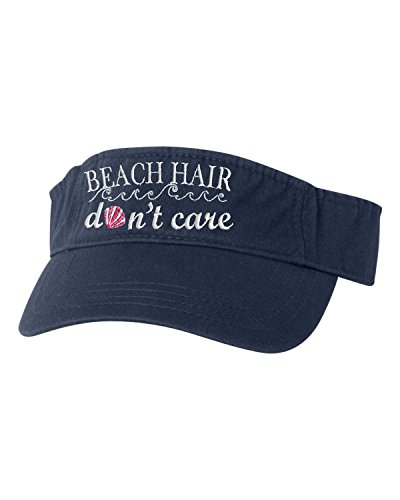 Beach Mens Visor - Go All Out Adjustable Navy Adult Beach Hair Don't Care Embroidered Visor Dad Hat