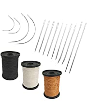 Set of 17 Heavy Duty Household Hand Needles and Extra Strong Upholstery Thread, SourceTon 7 Styles of Leather Canvas Sewing Needles and 3 Colors Nylon Thread (50 Yard)