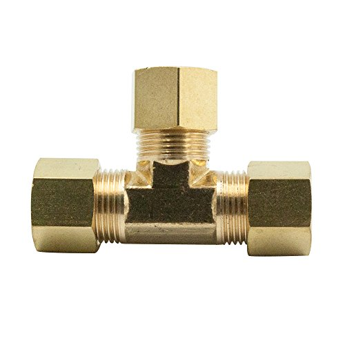 Legines Brass Compression Fitting, Tee Union, 3 ways Connector, 1/4