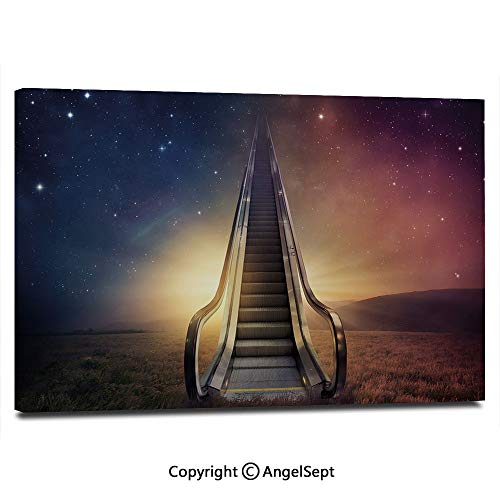 Modern Salon Theme Mural Escalator Up to Space Galaxy Starry Sky Heaven Planetary Road Theme Painting Canvas Wall Art for Home Decor 24x36inches, Night Blue Dried Rose