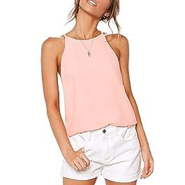 THANTH Womens Halter Tops Sleeveless Summer Strap Tank Tops High Neck Casual Cami Tops Tee