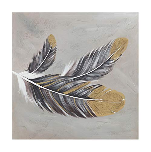 iPainting 3D Modern Painting Wall Art Framed Decor - Plumage Feathers Handmade Painting for Living Room Bedroom - Home Decoration Ready to Hang by iPainting