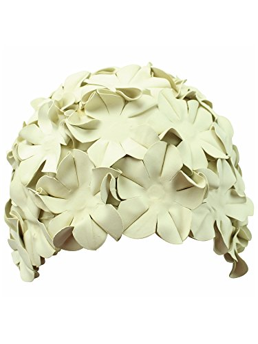 (Ivory Latex Bathing Cap With Petals)