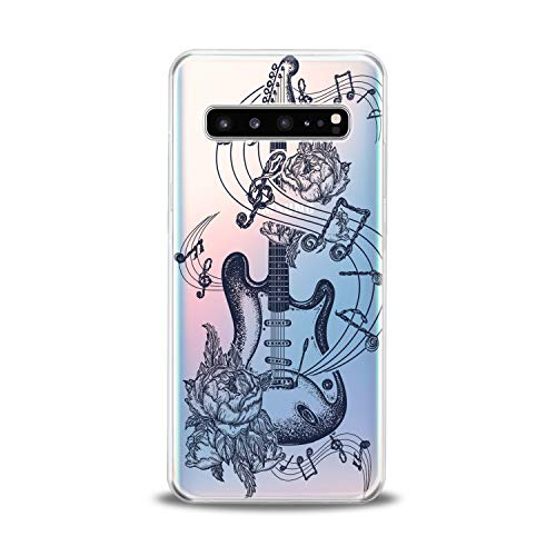 Lex Altern TPU Case for Samsung Galaxy s10 5G Plus 10e Note 9 s9 s8 s7 Clear Floral Guitar Art Pattern Amazing Black Cover Soft Silicone Special Dot Work Print Protective Transparent Girls Teen Gift ()