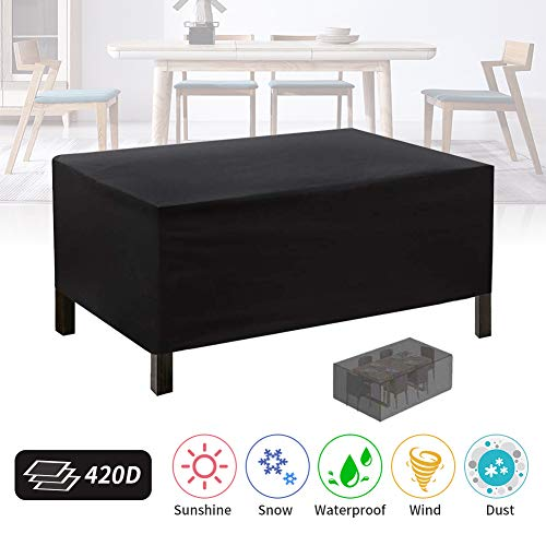 Patio Furniture Cover, 420D Rectangular Outdoor Table and Chair Cover, UV Resistant, Tear-Resistant Garden Patio Table Set Cover Windproof Dust Proof Protective 71x47x29inch Black