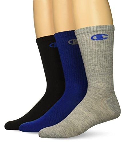 Champion Men's Dyed Crew Socks 3-Pack, blue assortment 6-12 ()