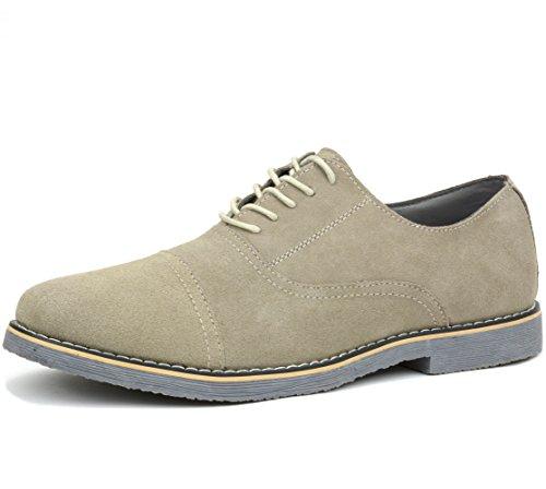 Alpine Swiss Ashton Mens Dress Shoes Genuine Suede Lace Up Oxfords Beige 11 M US