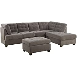 BOBKONA Michelson 3-Piece Reversible Sectional with Ottoman Sofa Set, Charcoal