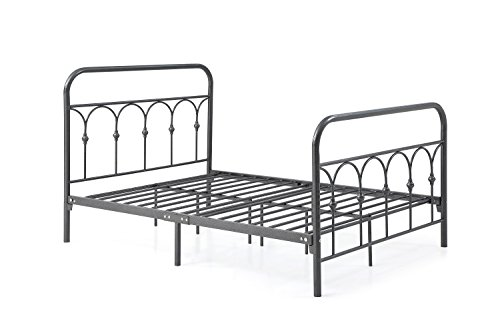 Hodedah Complete Metal Bed with Headboard, High Footboard, Slats and Rails, Twin Size, (Headboard Footboard Platform Rails)