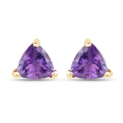 0.45 Carats Genuine Amethyst Trillion Stud Earrings Solid 10KT Yellow Gold (Earrings Solid Trillion)