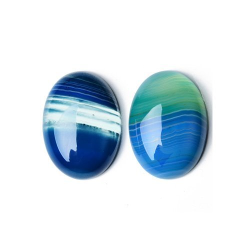 1 x Blue Banded Agate 30 x 40mm Oval-Shaped Flat-Backed Cabochon - (CA17397-5) - Charming ()