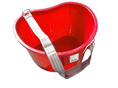 Zenport AG430R Plastic Kidney Shaped Picking Pail Bucket with Strap, 22 Quart, Red