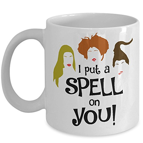 I Put A Spell On You Mug - Funny Happy Halloween Witch Coffee & Teacup 11oz Ceramic Novelty Cup - Great Unique Gift Idea For Fall, Christmas, Birthday, Anniversary, Xmas For Her or HIm (Halloween Witch Spells)