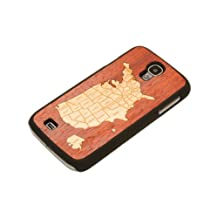 CARVED Matte Black Wood Case for Samsung  Galaxy S4 - USA Map (S4-BC1-USA)