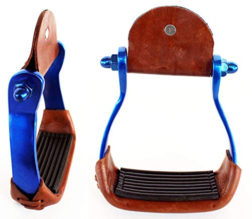 PRORIDER Horse Saddle Barrel Racing Aluminium Western Stirrups Tack Rodeo Blue 5181RB