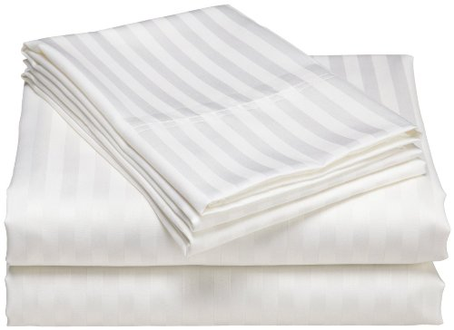 1200 Thread Count 100% Egyptian Cotton Superior Wrinkle Resistant 4PC Stripe Bed Sheet Set (Queen, White) - Egyptian Cotton Stripes Bed Pillow